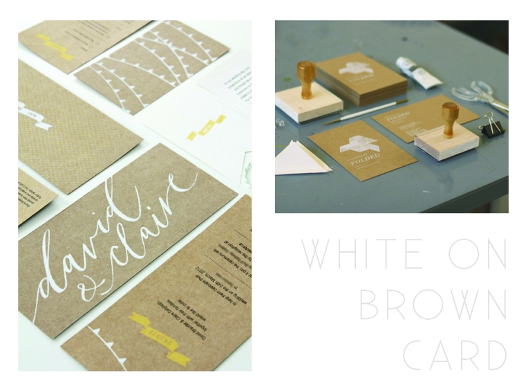 Invitation - White on brown card