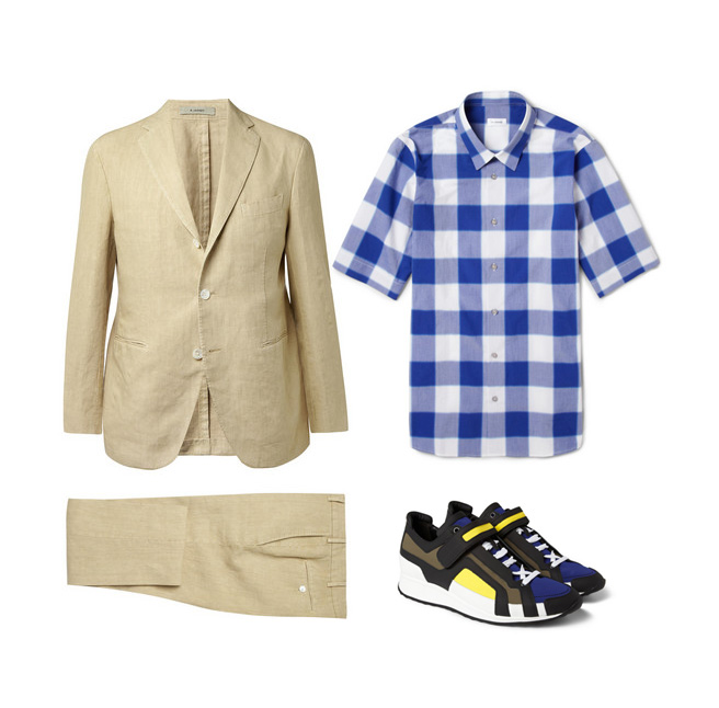 suite and sneakers styles for men