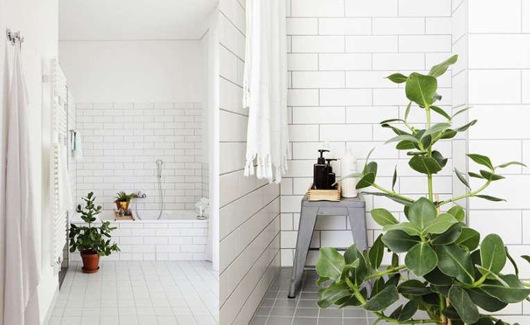 white bathrooms with subway tiles